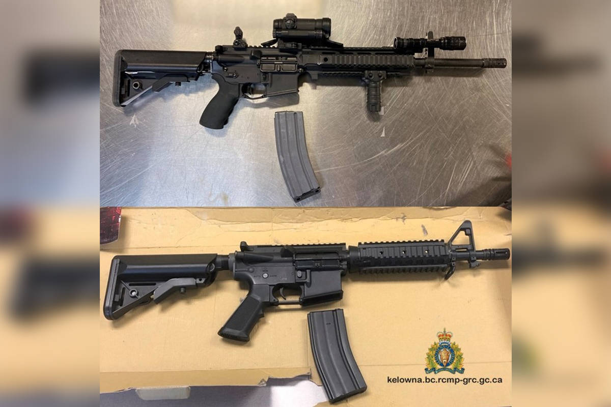 The top photo is of a real carbine rifle, while the bottom photo is the airsoft rifle seized from a Kelowna man on May 15. (Contributed)