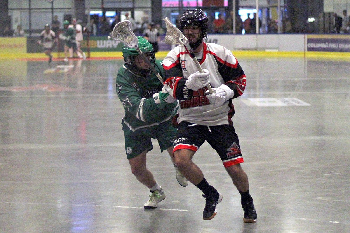 The Nanaimo Timbermen and Victoria Shamrocks compete in Western Lacrosse Association action in Nanaimo during the 2019 season. (News Bulletin file photo)