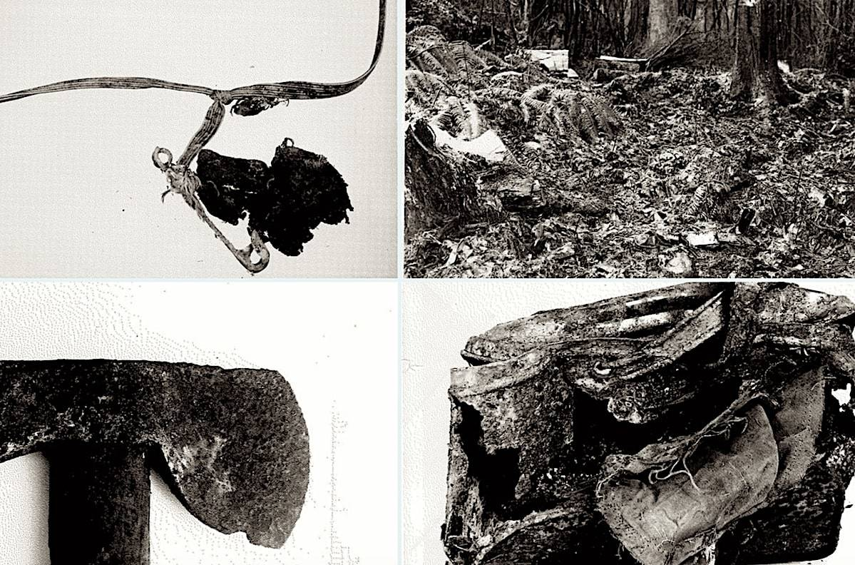 Evidence from the 1953 Stanley Park crime scene, including a hatchet, found beside the skeletal remains of two boys. (Vancouver Police Department)