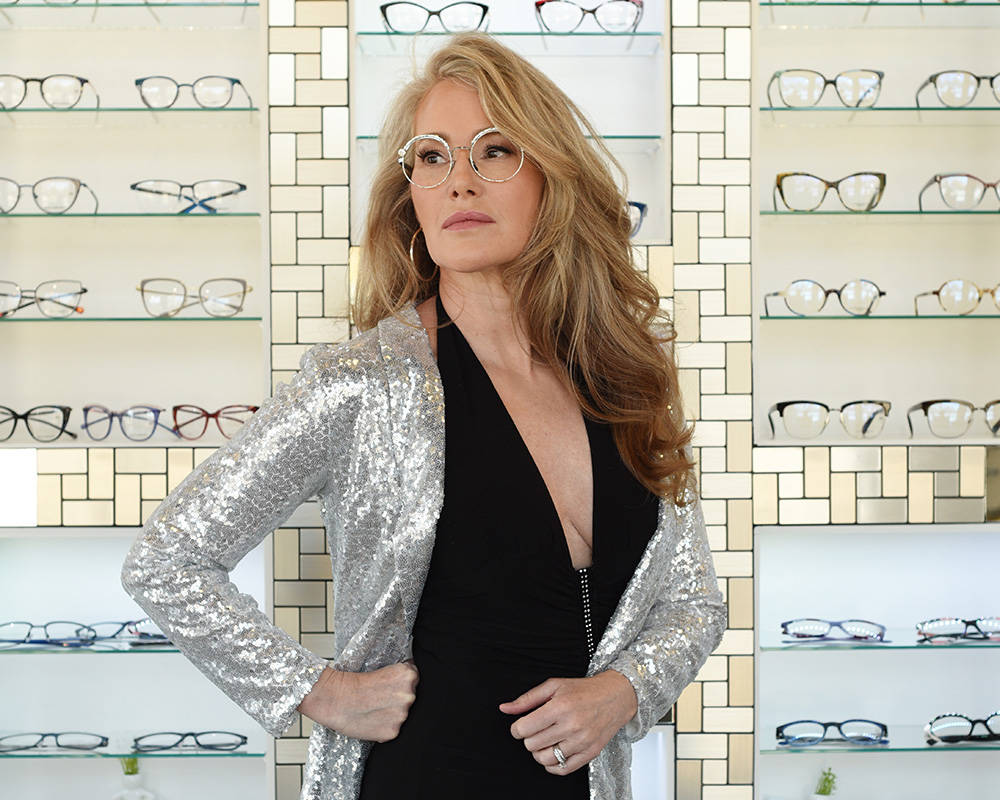 Laura Draycott, owner of Wink I Wear Optometry, in her Kelowna store.  Don Denton photograph