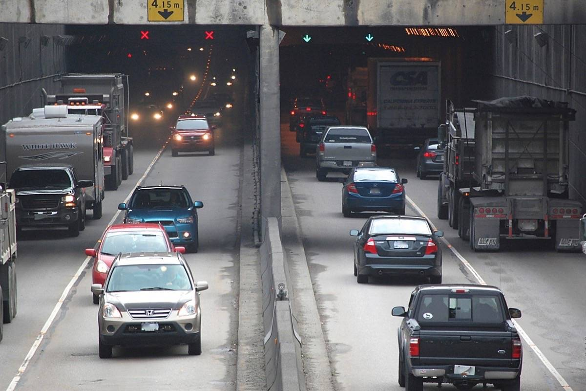 The George Massey Tunnel will be closed overnight May 28 and 29 to test the tunnel's fire suppression system and overhead lane control signals. (Black Press Media file photo)
