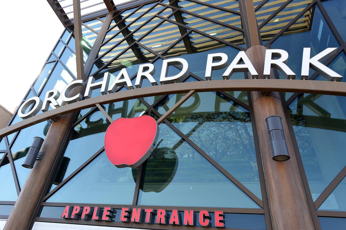 April 13, 2021 -  Kelowna's Orchard Park Mall Apple Entrance. Don Denton photograph