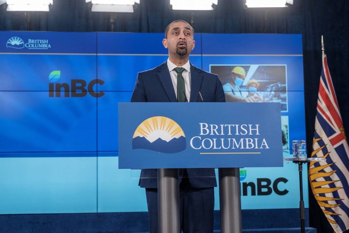 B.C. Jobs Minister Ravi Kahlon announces formation of a new Crown corporation called InBC to manage $500 million in public funds to help startup companies expand, B.C. legislature, April 27, 2021. (B.C. government photo)