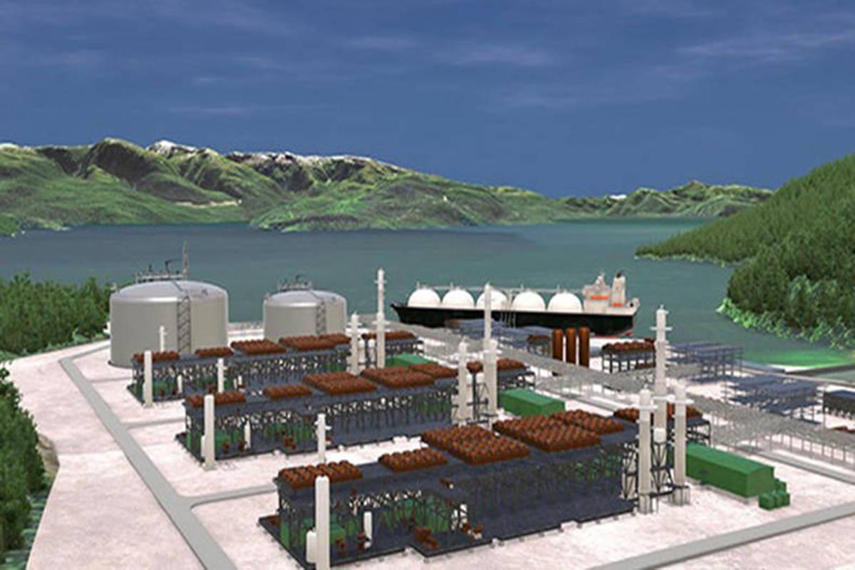 Artist's illustration of the proposed Kitimat LNG facility at Bish Cove near Kitimat. (Kitimat LNG illustration)