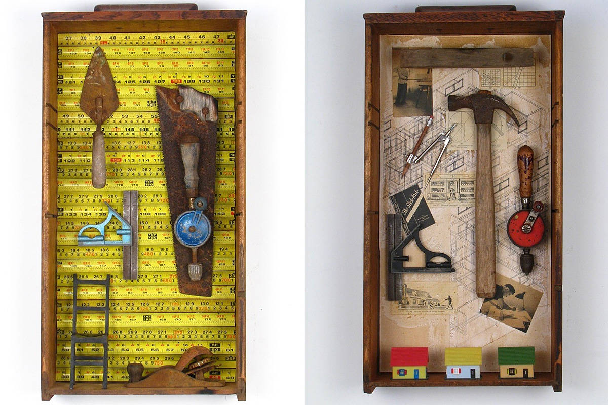"""""""Tools of the Trade"""" series by Valerie Arntzen was awarded the Director's Choice Award at """"Creative Reuse: The Art of Upcycling"""", on now at Langley Centennial Museum."""