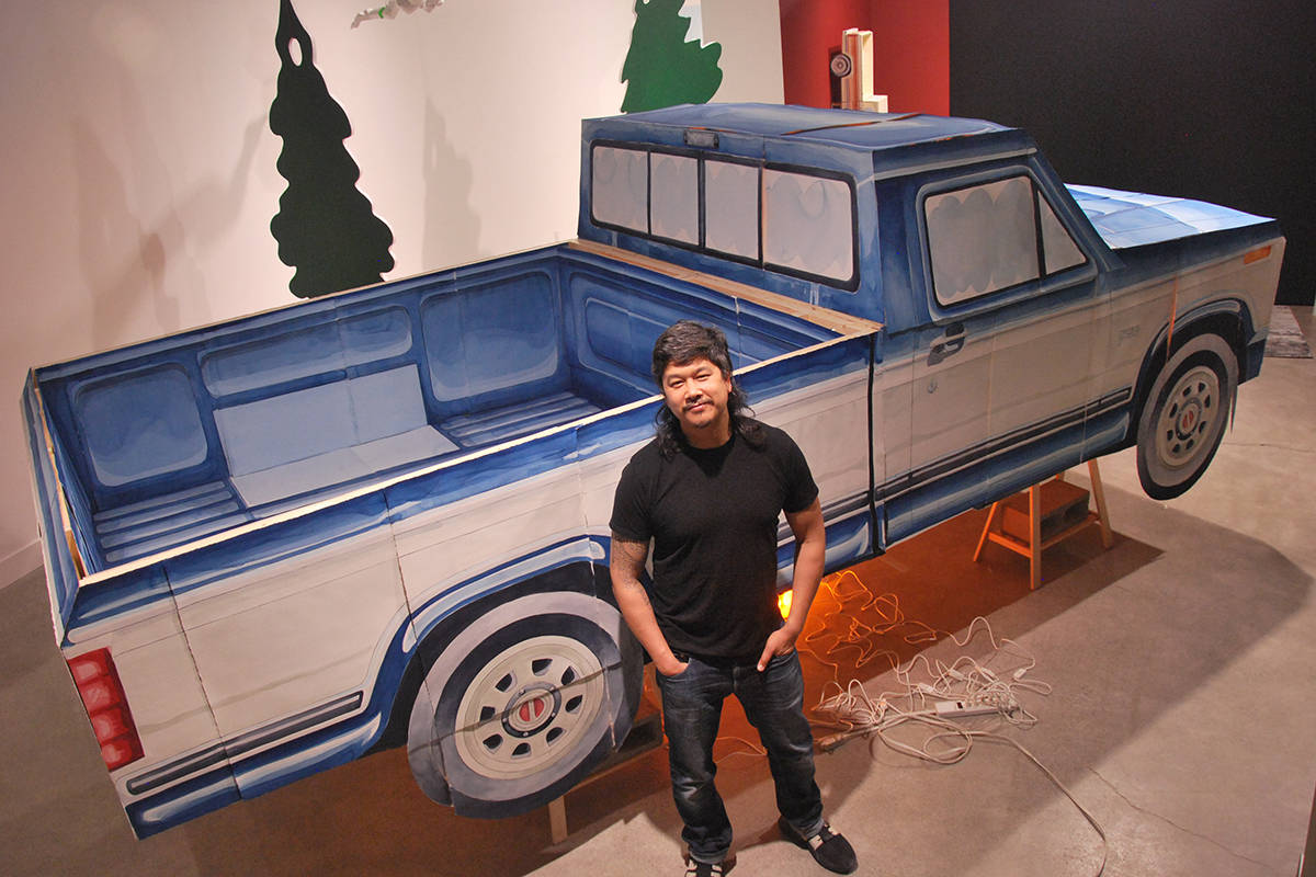 A bird's eye view of Nanaimo-raised artist Brendan Lee Satish Tang's life-size paper model of a 1984 Ford F-150 truck at the Nanaimo Art Gallery. (Josef Jacobson/News Bulletin)