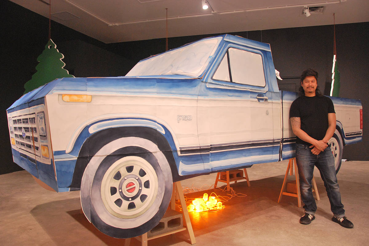 Nanaimo-raised artist Brendan Lee Satish Tang built a life-size 1984 Ford F-150 truck out of watercolour paper as part of his Reluctant Offerings exhibition at the Nanaimo Art Gallery. (Josef Jacobson/News Bulletin)