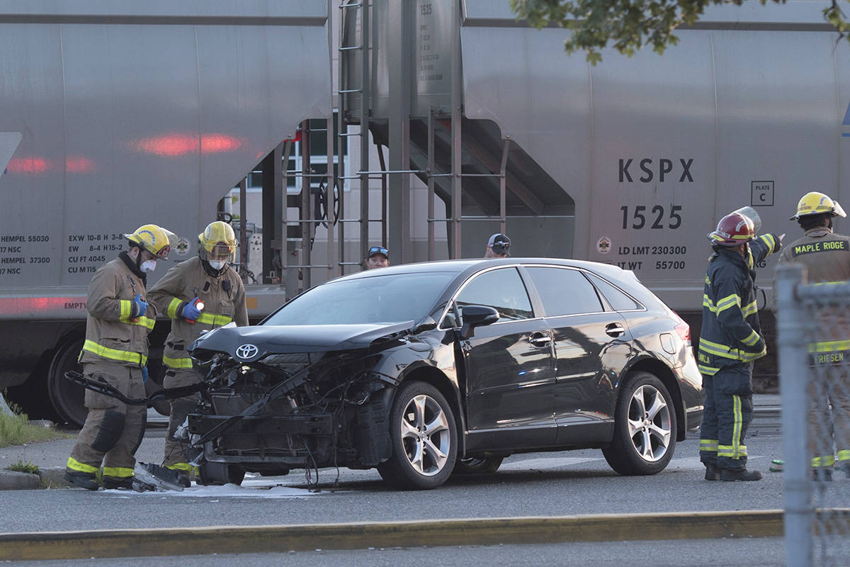 Ridge Meadows RCMP were called to assist Canada Pacific Rail on Wednesday night, May 19, 2021 after a collision between a car and a train. The incident was reported around 8 p.m. near the 203rd Street and Maple Crescent intersection. (Barry Brinkman/Special to The News)