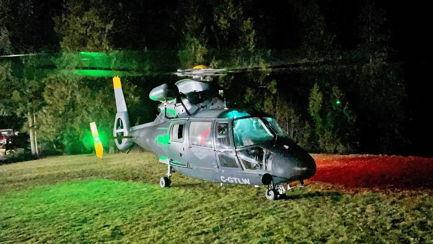 Talon Helicopters searched in the darkness using night vision equipment. (Special to The NEWS)