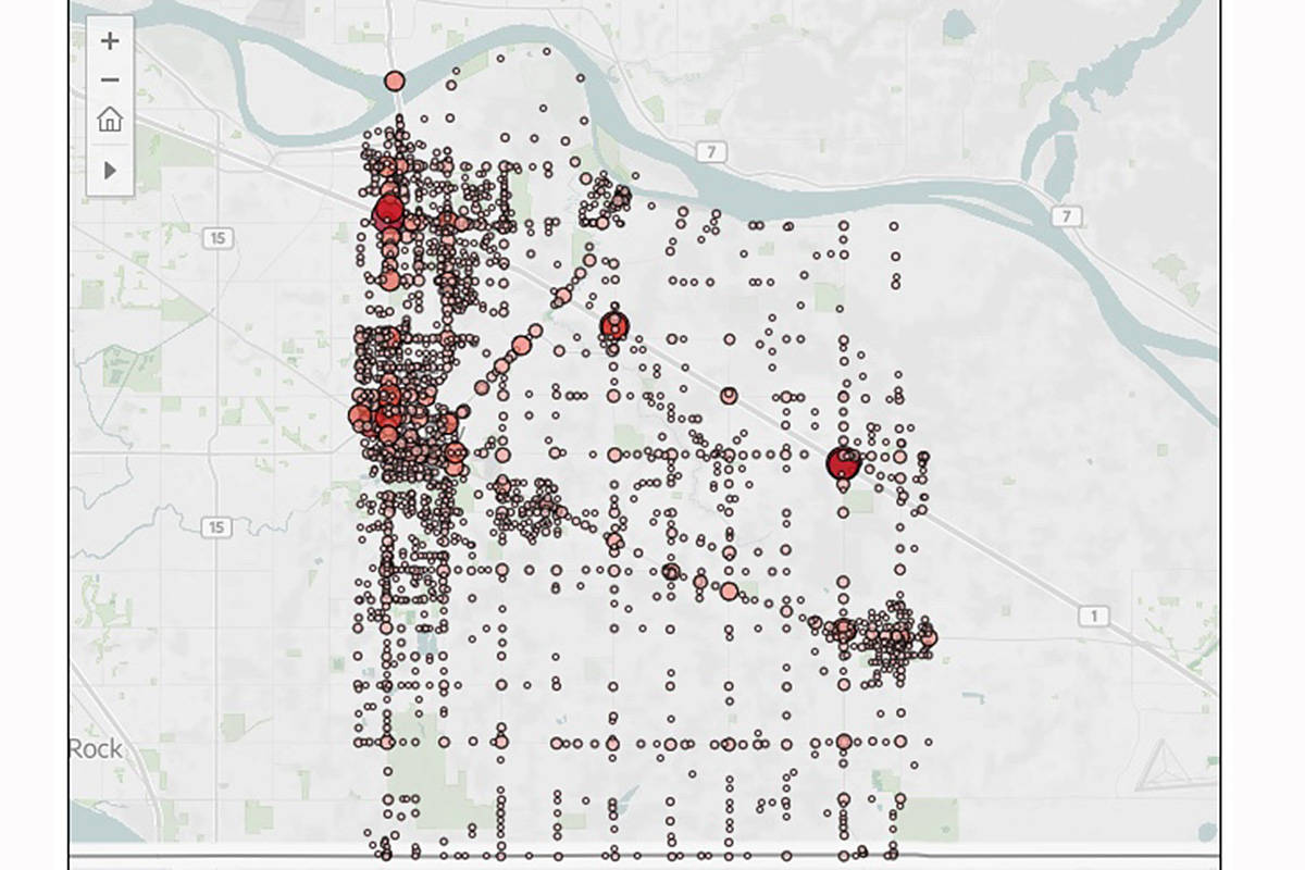 An ICBC data map shows the location of every car crash reported to police in 2020. Major routes and key intersections saw many more crashes. (ICBC)