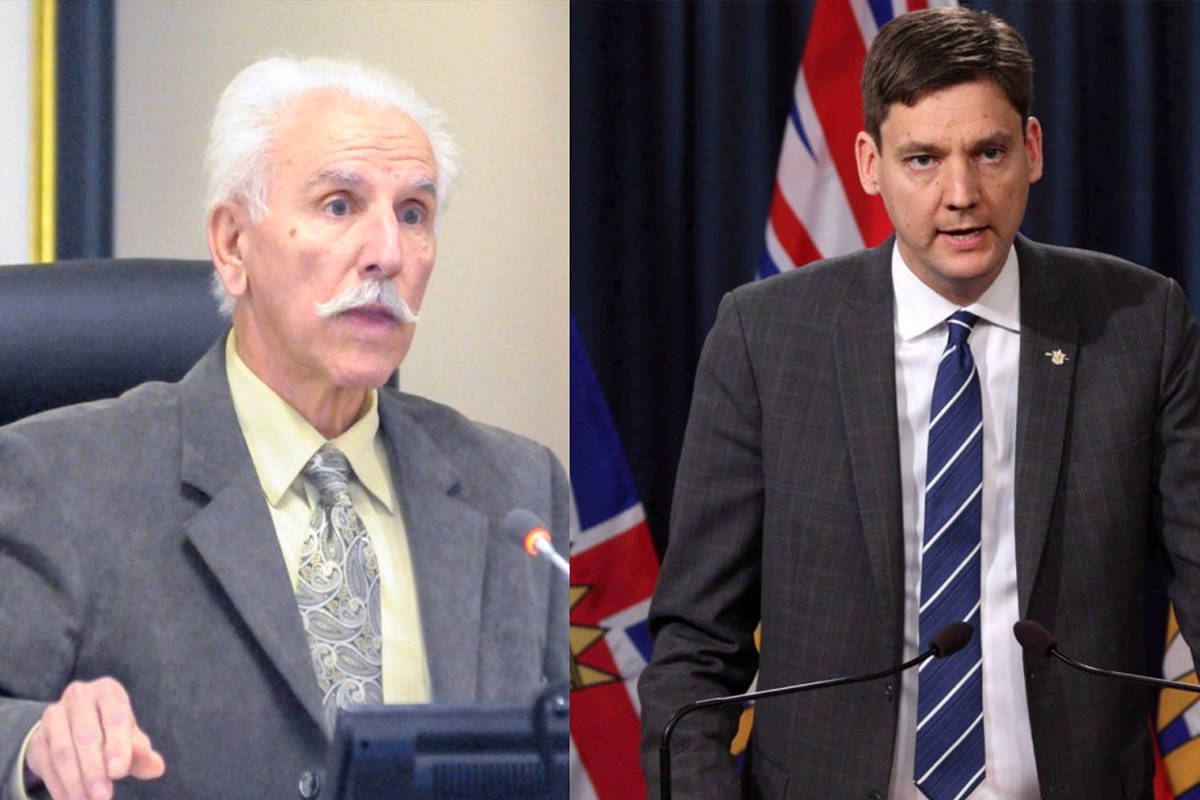 Penticton mayor John Vassilaki and Minister of Housing David Eby have been battling over the Victory Church shelter and BC Housing projects in the city. (File photos)