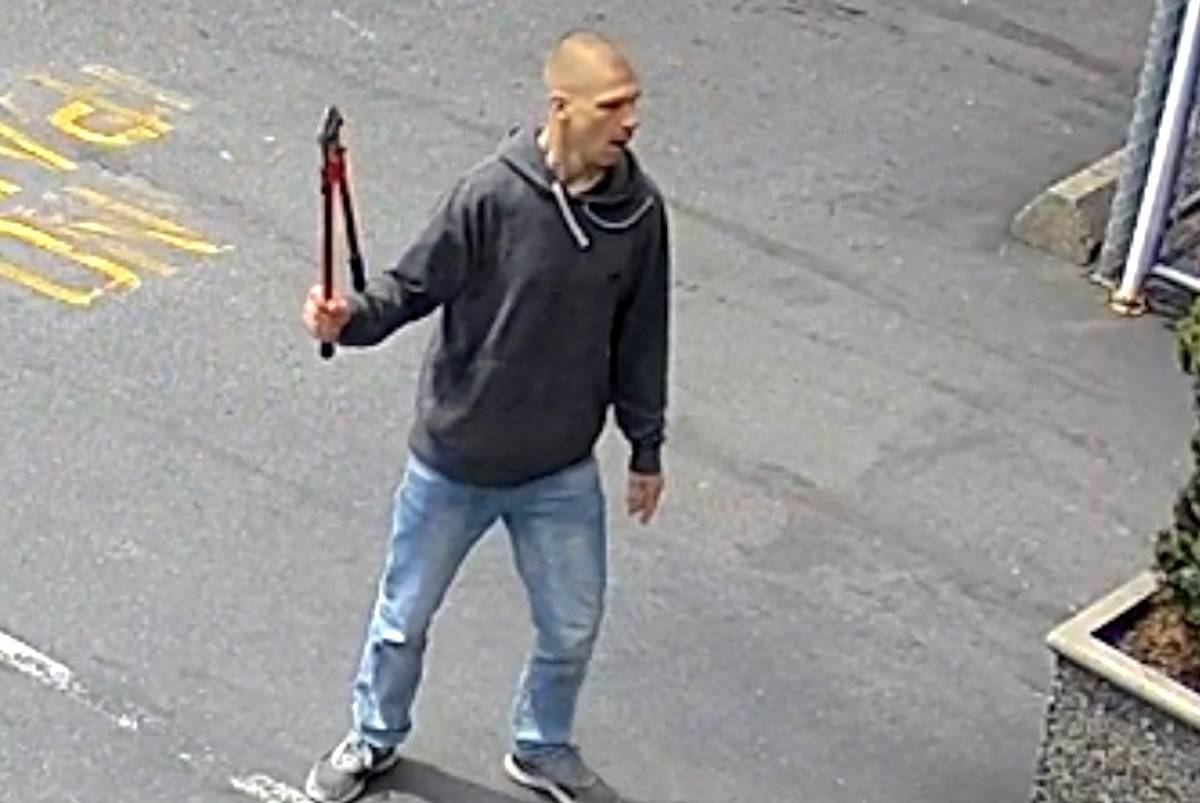 The suspect involved in a May 8 attack is described by police as a Caucasian man with a blonde buzz cut. (Burnaby RCMP handout)