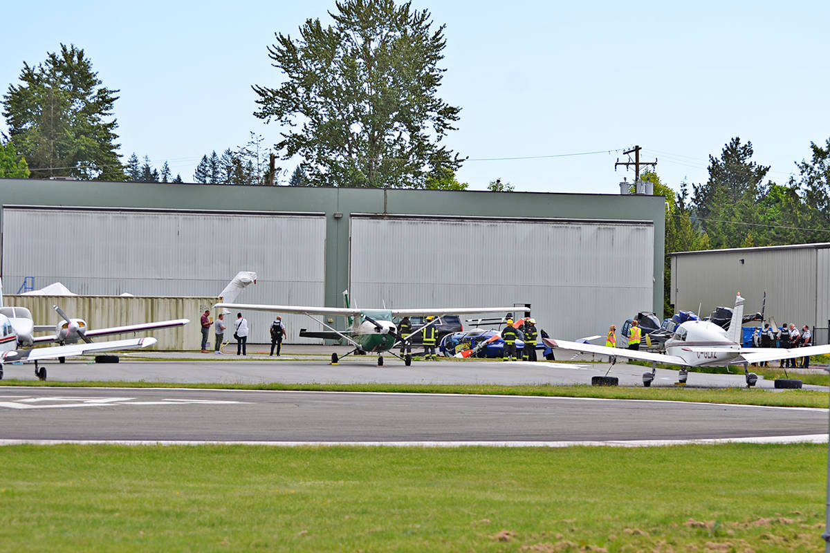 Emergency crews were called to the Langley Regional Airport at about 5 p.m. for the crash of a helicopter. (Heather Colpitts/Langley Advance Times)