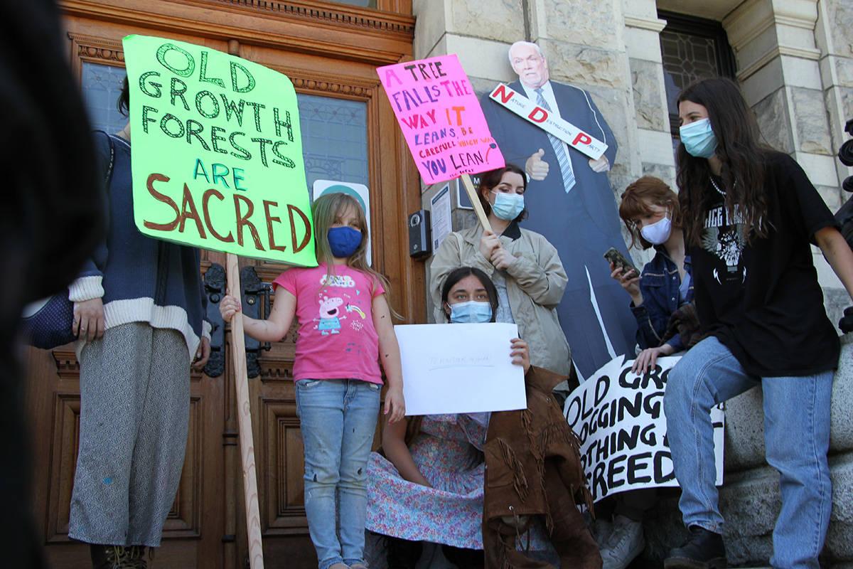 Fairy Creek advocates protesting a B.C. injunction at the legislative building. (Kiernan Green / Victoria News Staff)