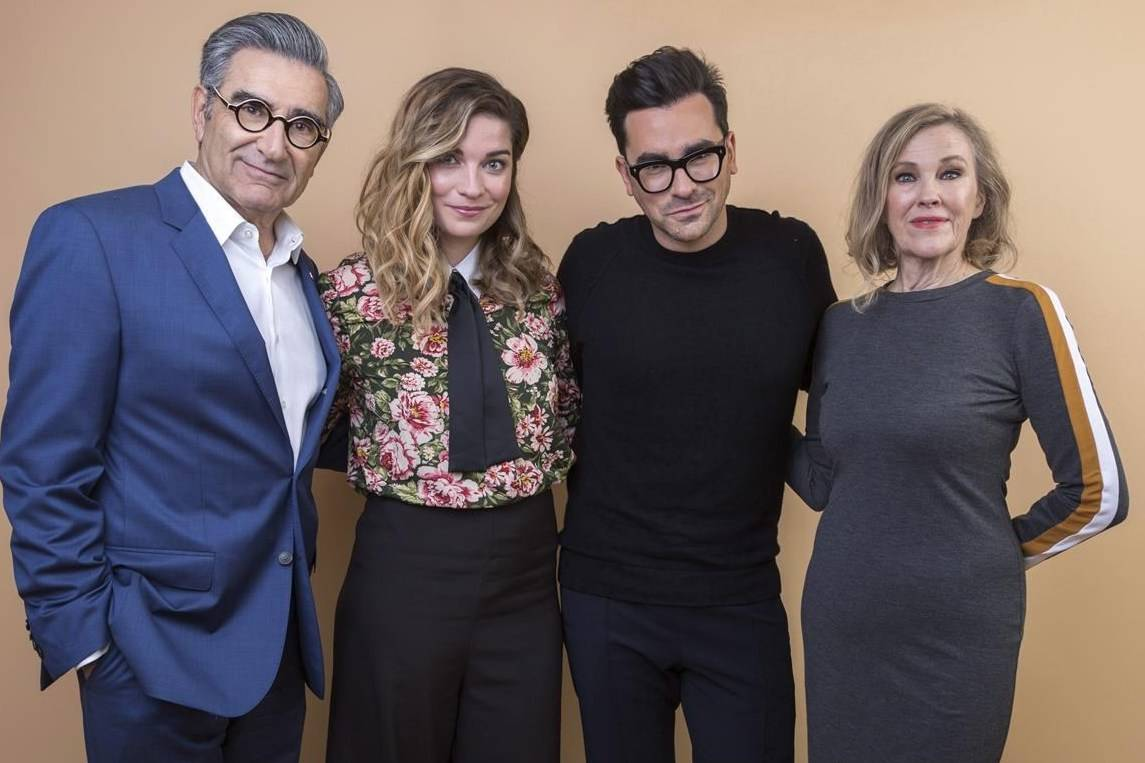 """Eugene Levy, from left, Annie Murphy, Daniel Levy and Catherine O'Hara, cast members in the TV series """"Schitt's Creek,"""" pose for a portrait during the 2018 Television Critics Association Winter Press Tour on Sunday, Jan. 14, 2018, in Pasadena, Calif. THE CANADIAN PRESS/AP, Willy Sanjuan - Invision"""