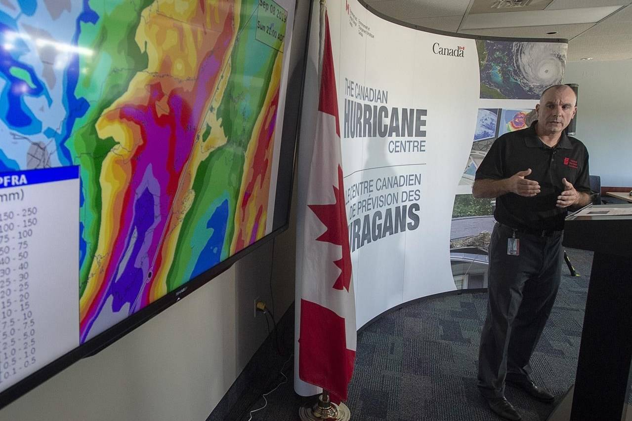 Meteorologist Bob Robichaud of the Canadian Hurricane Centre provides an update on Hurricane Dorian in Dartmouth, N.S., on Friday, Sept. 6, 2019. THE CANADIAN PRESS/Andrew Vaughan