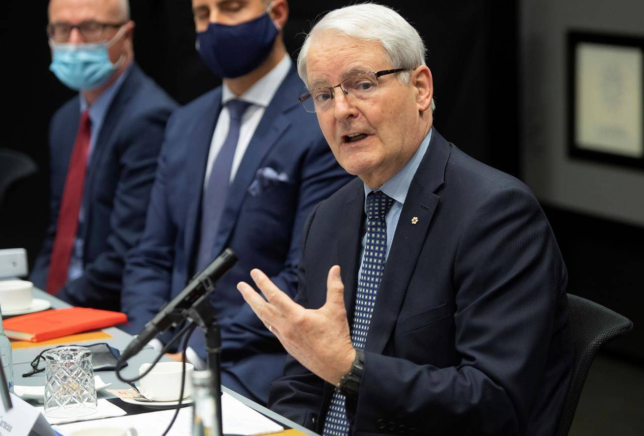 Canadian Foreign Minister Marc Garneau, speaks during a meeting. THE CANADIAN PRESS/AP-Saul Loeb