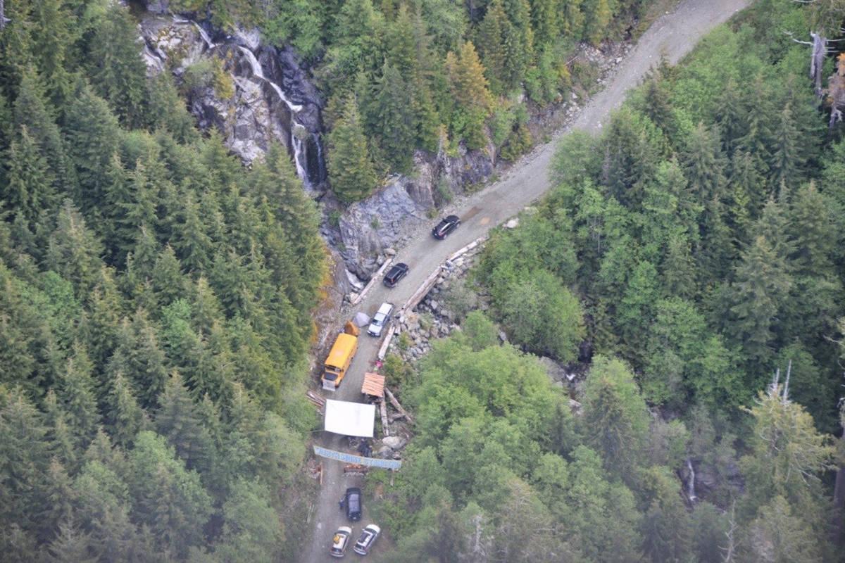 An RMCP aerial photo of the blockade near Port Renfrew. (RCMP photo)