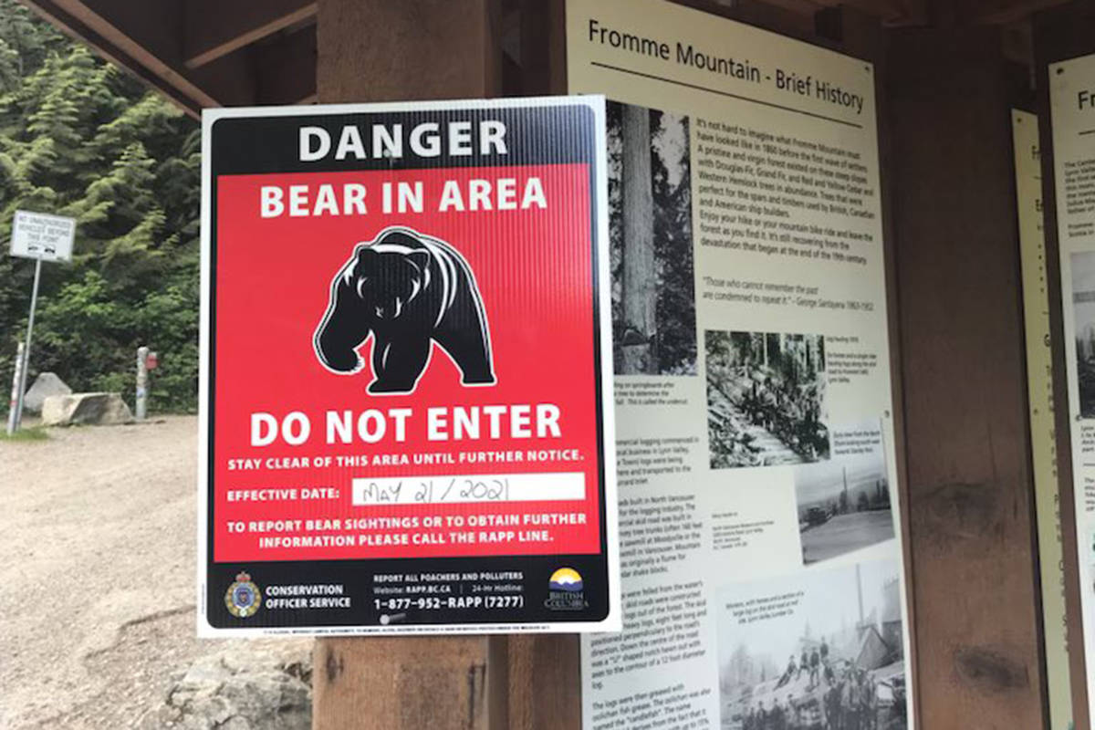 Trails around Mount Fromme remain closed on Sunday, May 23, 2021, after a bear attacked a man hiking there on Friday. (B.C. Conservation Officer Service)