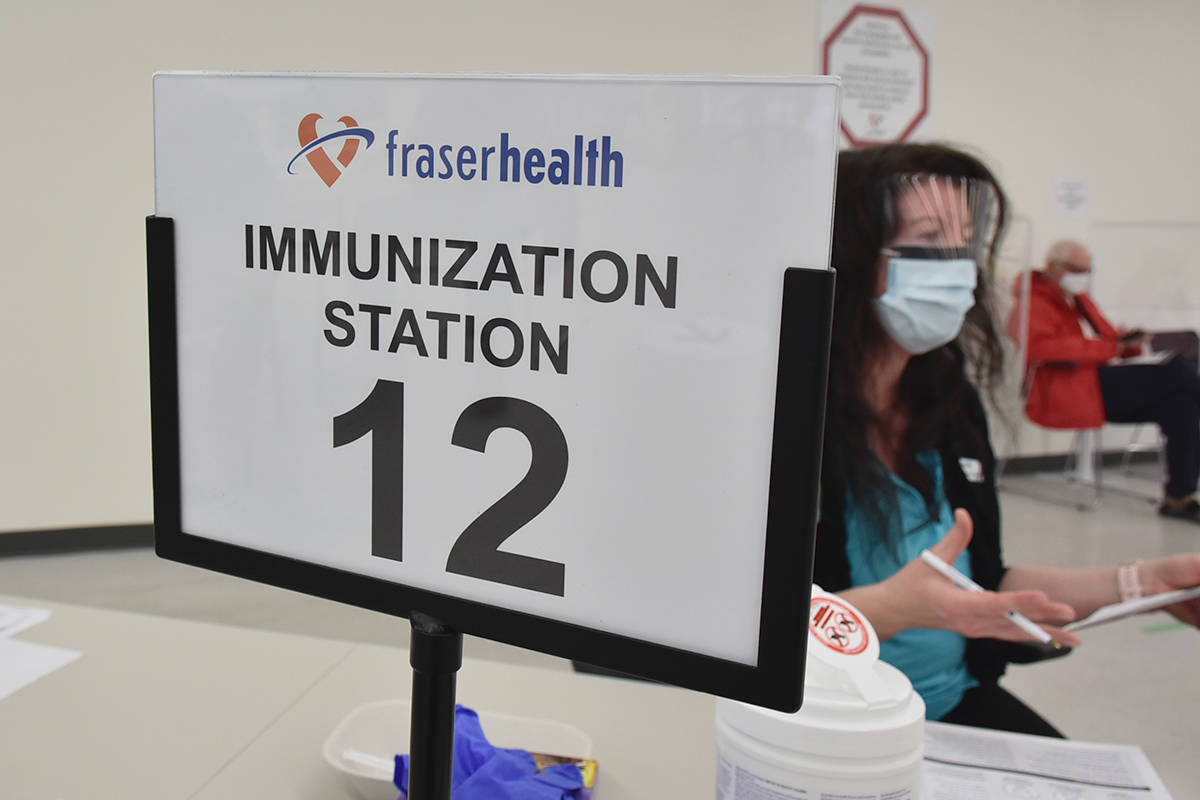 COVID-19 vaccinations are being given in the Fraser Health region, as they are throughout B.C., with a push on now to immunize young people. (Black Press Media)