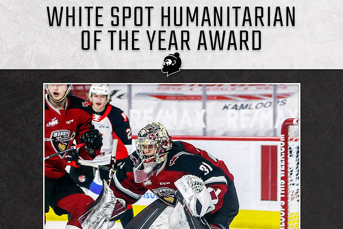 Goaltender Trent Miner received a number of team accolades last week, including the White Spot humanitarian of the year award. Vancouver Giants presented its team awards to a number of players who excelled both on and off the ice this season. (Graphics By Jamison Derksen)