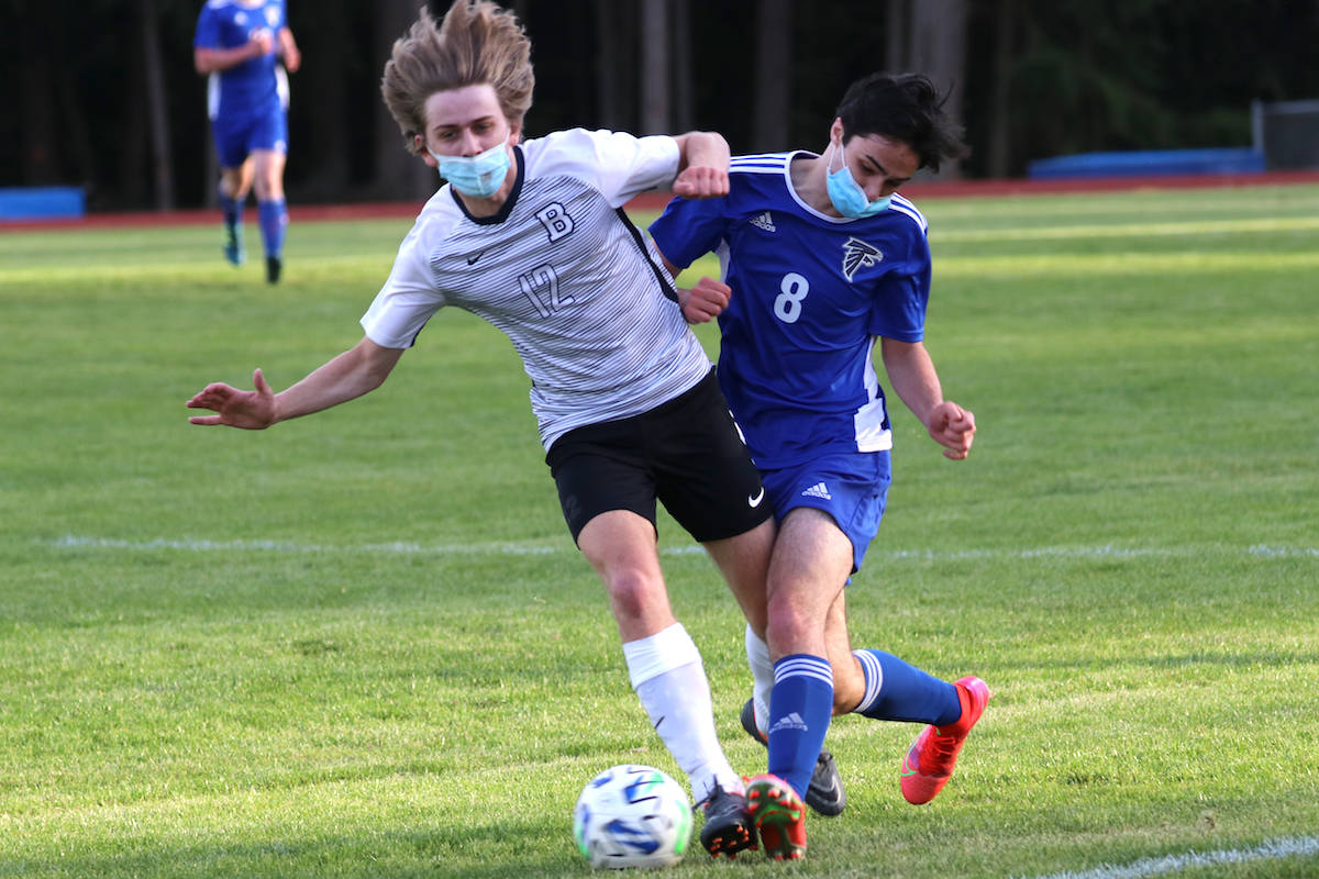 A soccer game pictured in B.C. on Wednesday, April 21. (Black Press Media/Matt Simms)