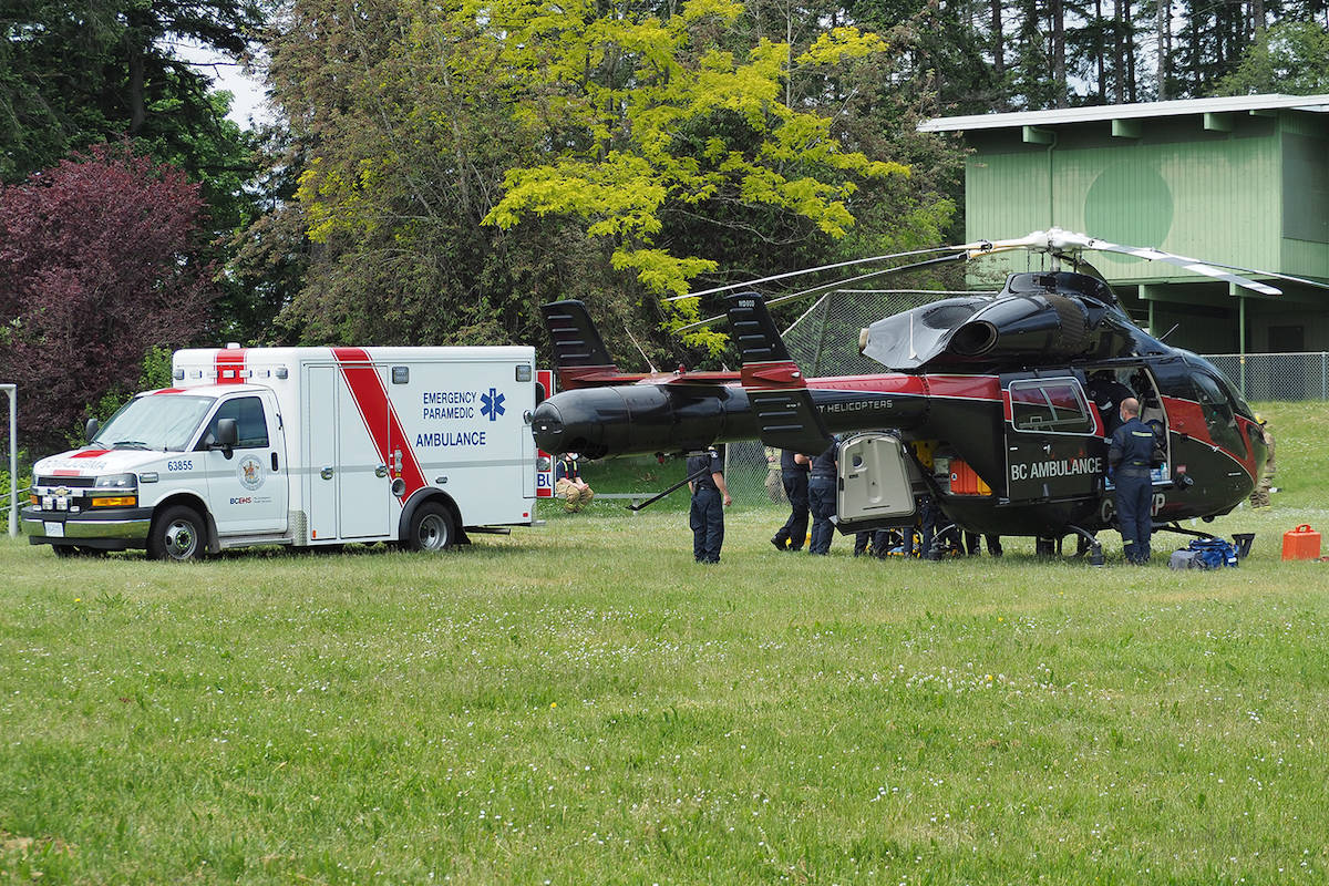 A woman was airlifted to hospital with serious injuries after being bitten by a wolf at an education centre south of Nanaimo on Tuesday, May 25. (Chris Bush/News Bulletin)