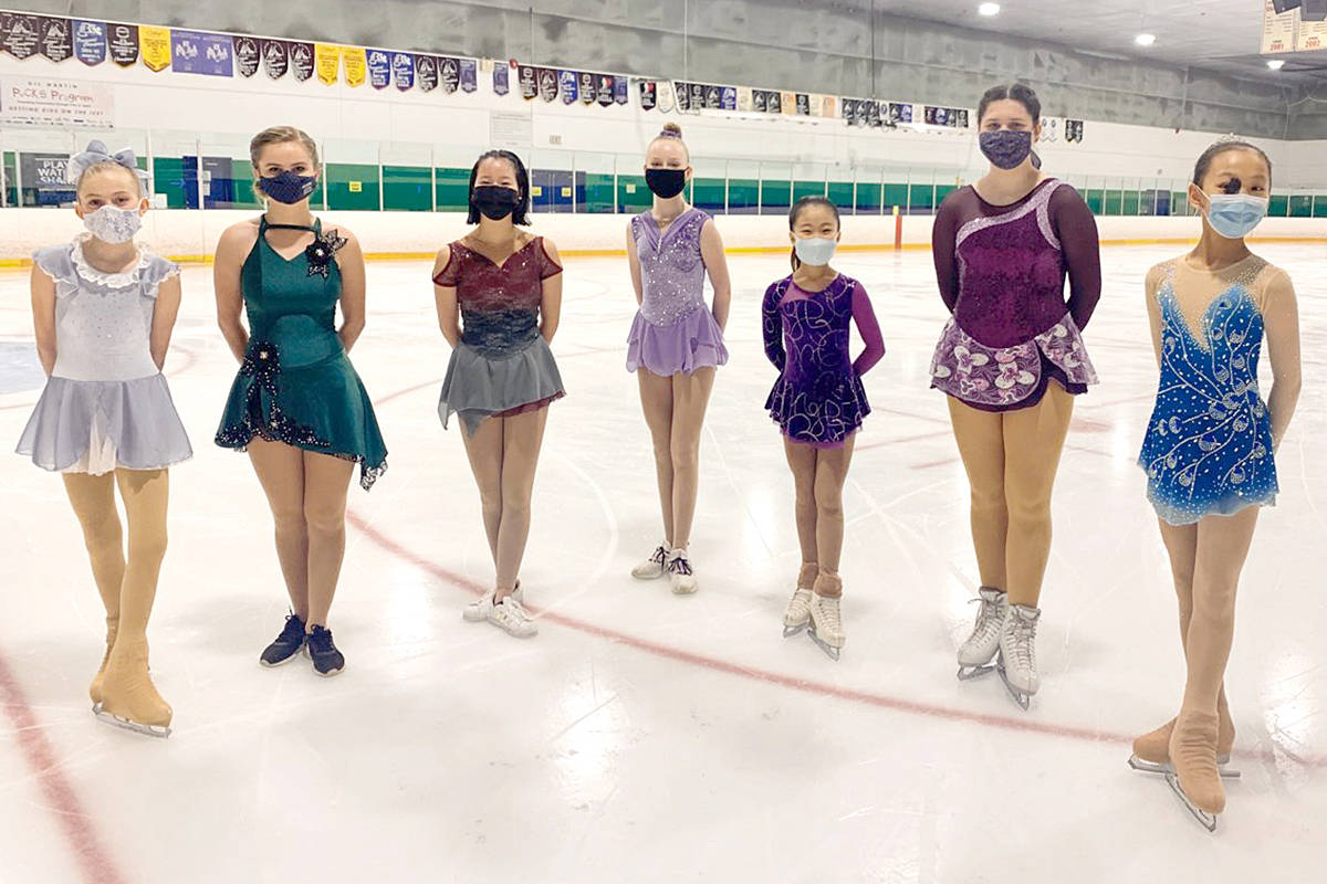 Only skaters, coaches and three volunteers were permitted inside the arena during taping of competition in mid-April. Ally Cox(left to right) Clairesse Friesen, Caity Nash, Maya Towstyka, Irena Lin, Annaliese Beckmann, Hannah Li were among the 20 local participants. (Langley Skating Club/Special to Langley Advance Times)