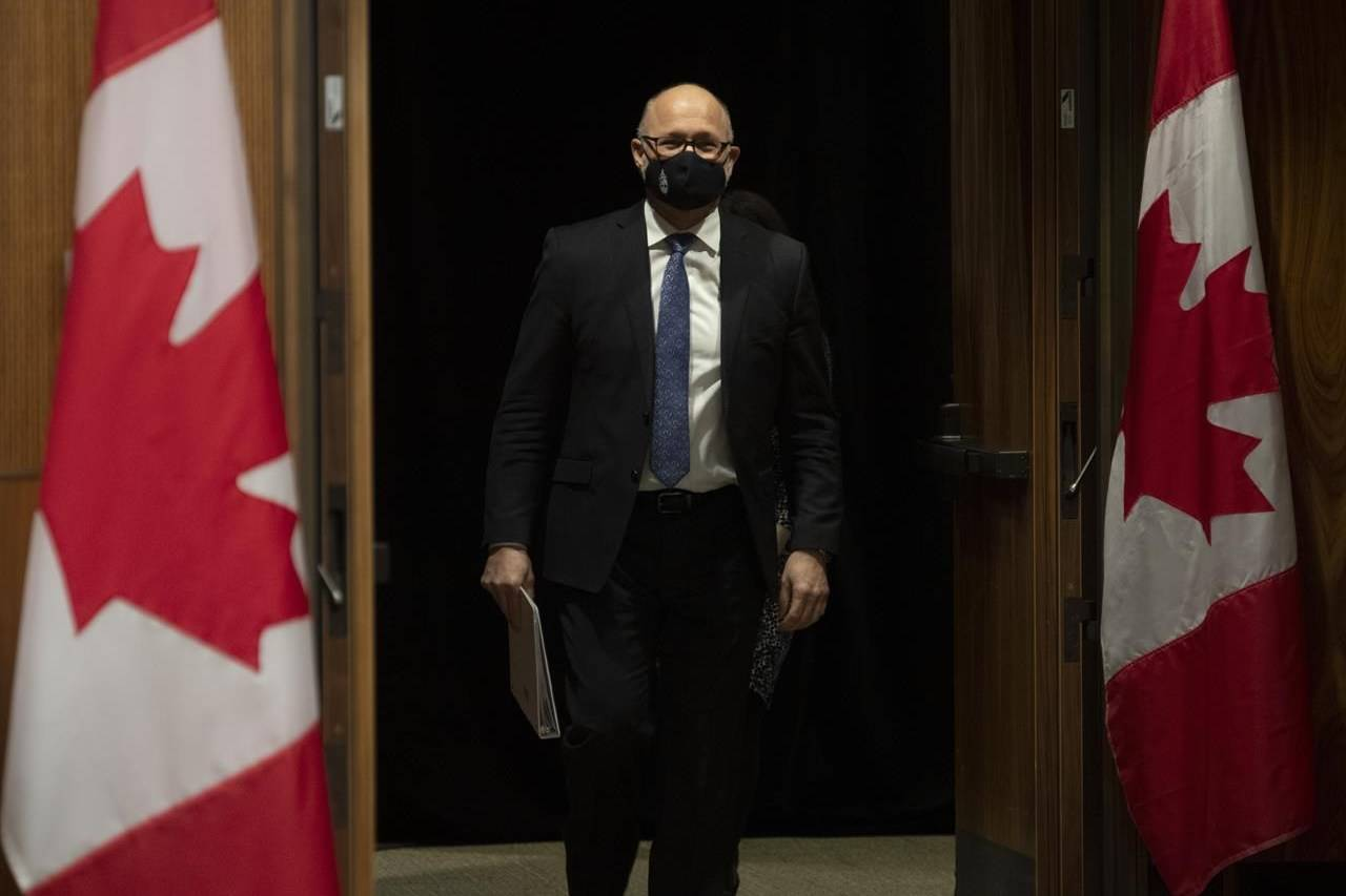 FILE - Justice Minister David Lametti arrives for a news conference in Ottawa, Thursday November 26, 2020. The Liberal government is set to introduce long-awaited legislation today to enshrine the United Nations Declaration on the Rights of Indigenous Peoples in Canadian law. THE CANADIAN PRESS/Adrian Wyld