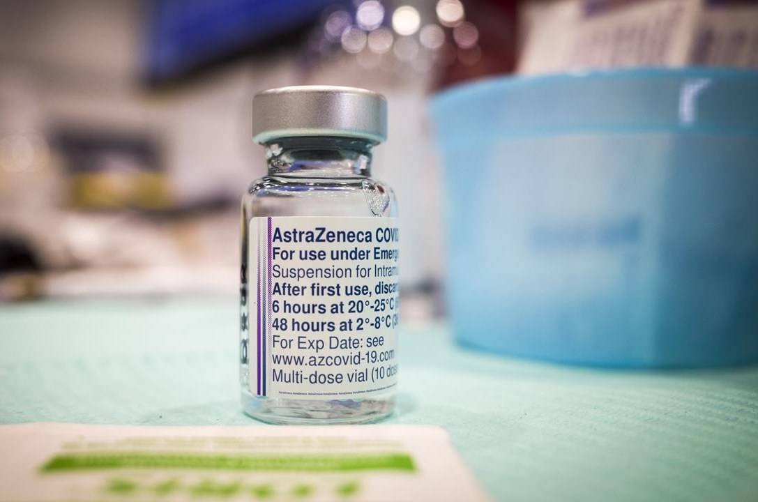 A vial of AstraZeneca vaccine is seen at a mass COVID-19 vaccination clinic in Calgary on April 22, 2021. THE CANADIAN PRESS/Jeff McIntosh