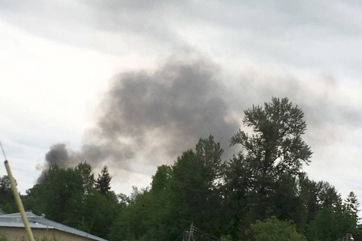 Smoke is filling the skies of South Langley from a fire in the area of 14th Avenue and 232nd Street. (Special to the Langley Advance Times)
