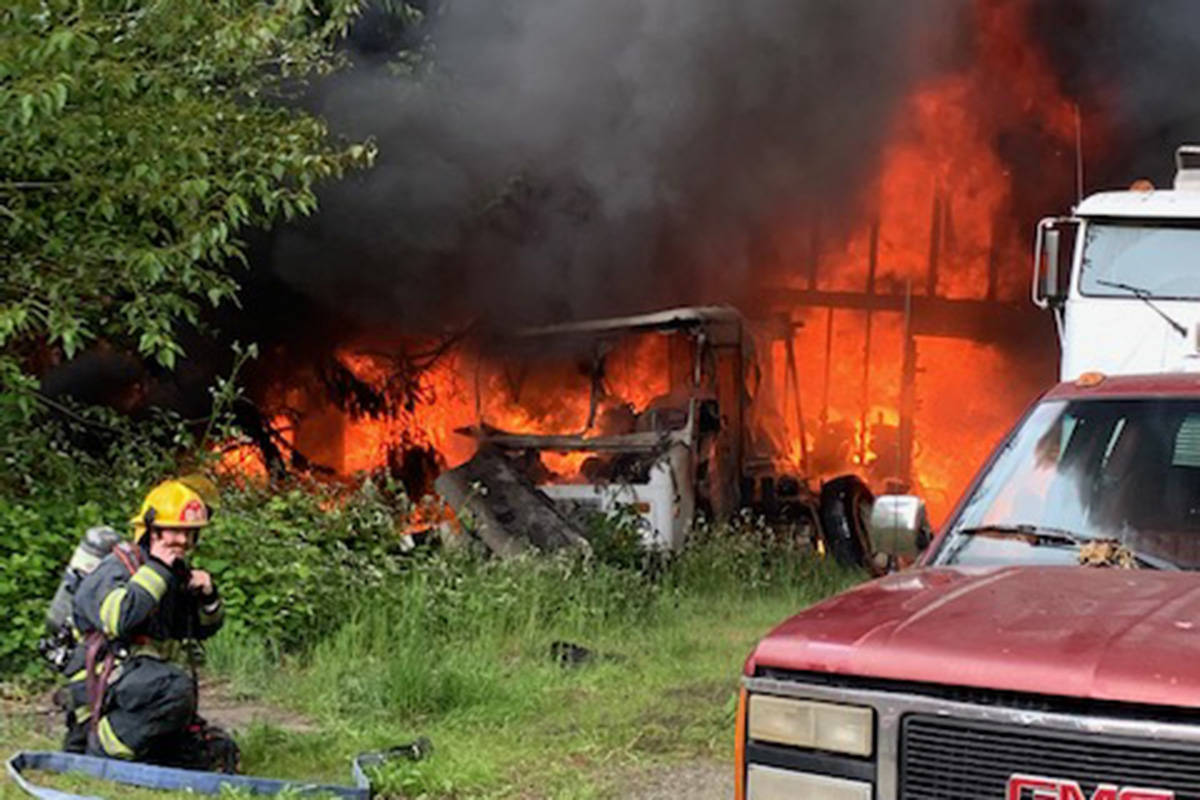 Fire crews were called to a blaze in the 1500 block of 232nd Street around 2:45 p.m. on Wednesday, May 26, 2021. (Township of Langley Fire Department/Special to Langley Advance Times)