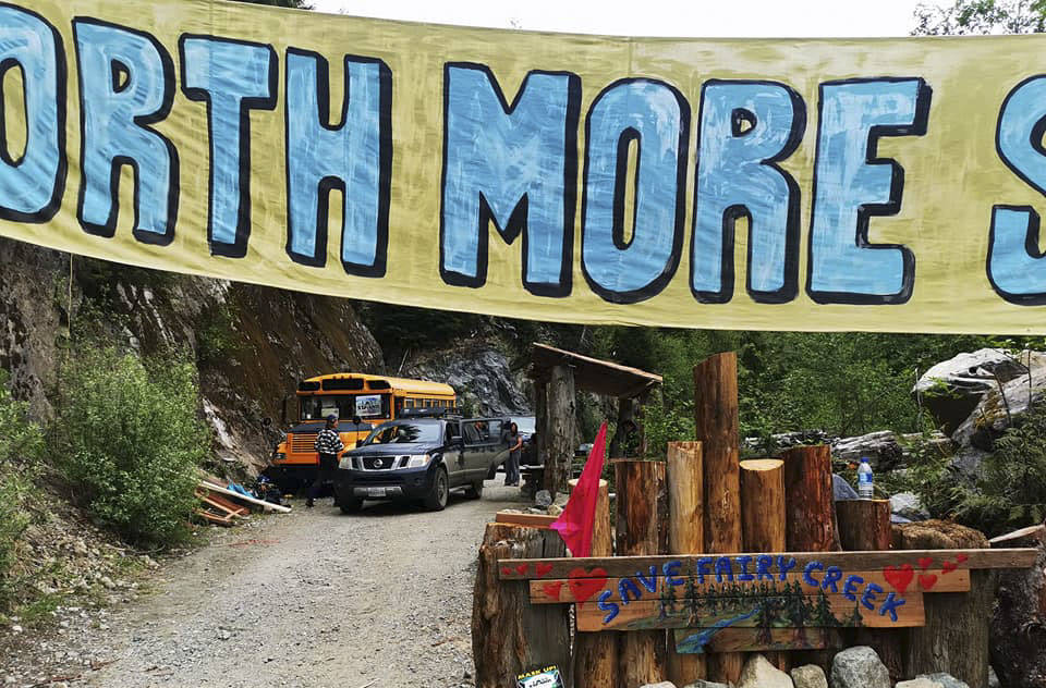 Protests against old-growth logging on southern Vancouver Island continued on Tuesday at locations near Fairy Creek (pictured) and Caycuse. (Facebook photo)