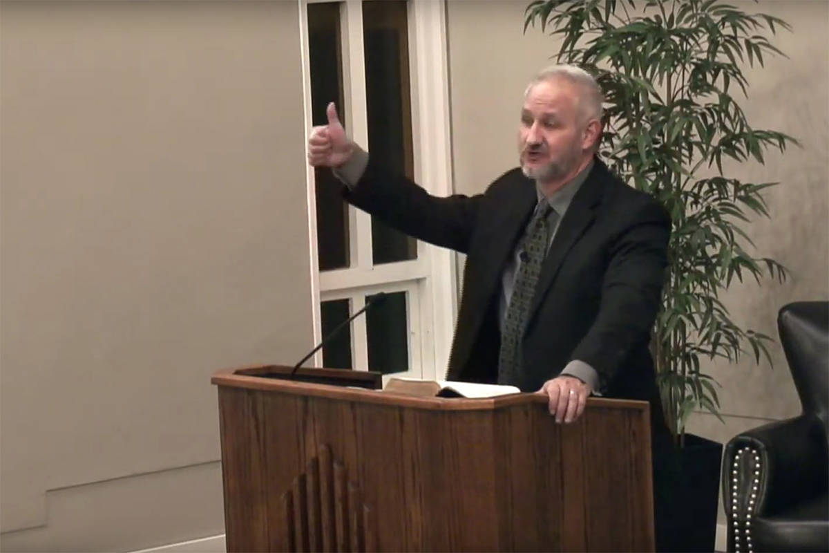 Screenshot of Pastor James Butler giving a sermon at Free Grace Baptist Church in Chilliwack on Nov. 22, 2020. Butler is one of three Chilliwack pastors facing 25 violation tickets between them for holding services in violation of public health orders, tickets they are fighting in court. (YouTube)