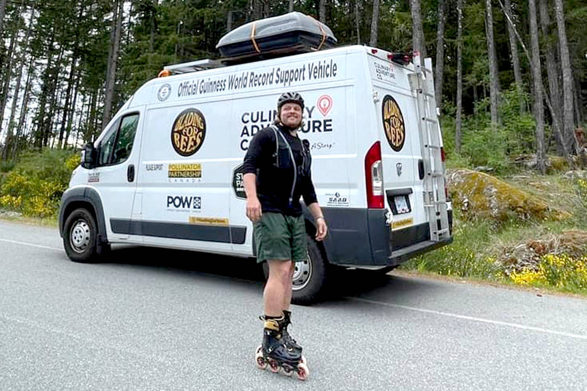 Aldergrove's Zach Choboter set off from Whistler on a cross country rollerblading journey. (Special to The Star)