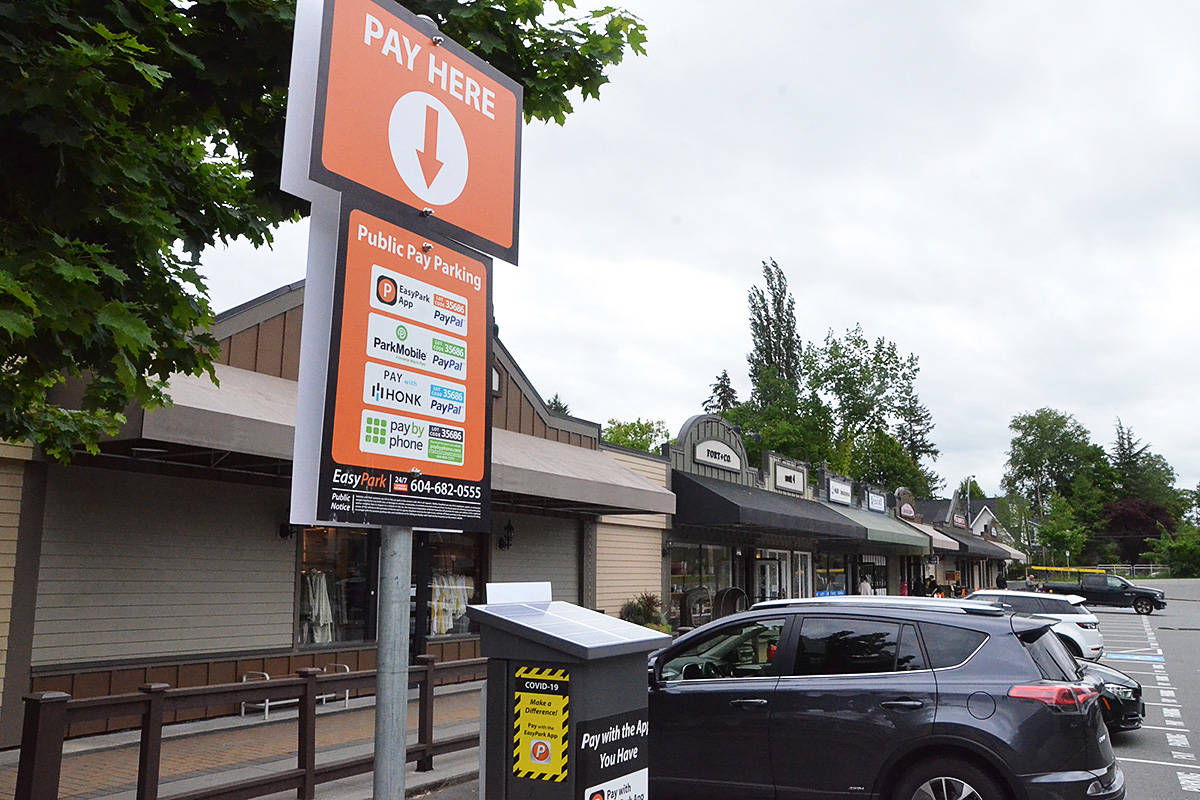 A Fort Langley shopping plaza is the first location in the village to require paid parking. (Matthew Claxton/Langley Advance Times)