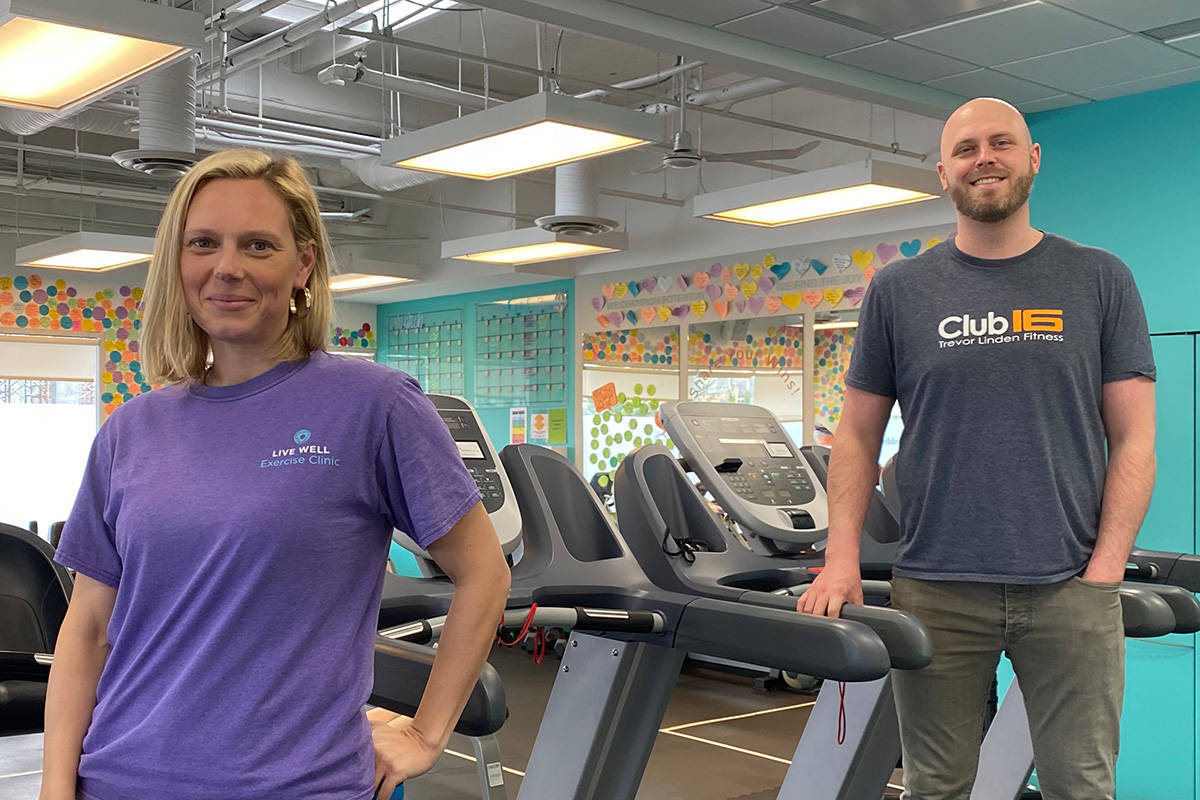 Live Well Exercise Clinic CEO Sara Hodson and Trevor Linden's Club 16 partner Carl Ulmer co-chair the BC Fitness Industry Council. (Contributed photo)