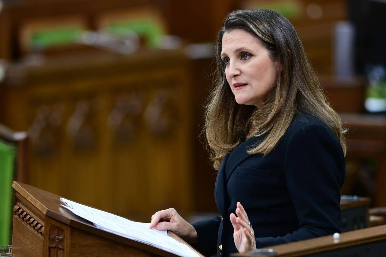 Finance Minister Chrystia Freeland responds to questions from MPs after she delivered the federal budget in the House of Commons in Ottawa on Monday April 19, 2021. THE CANADIAN PRESS/Sean Kilpatrick