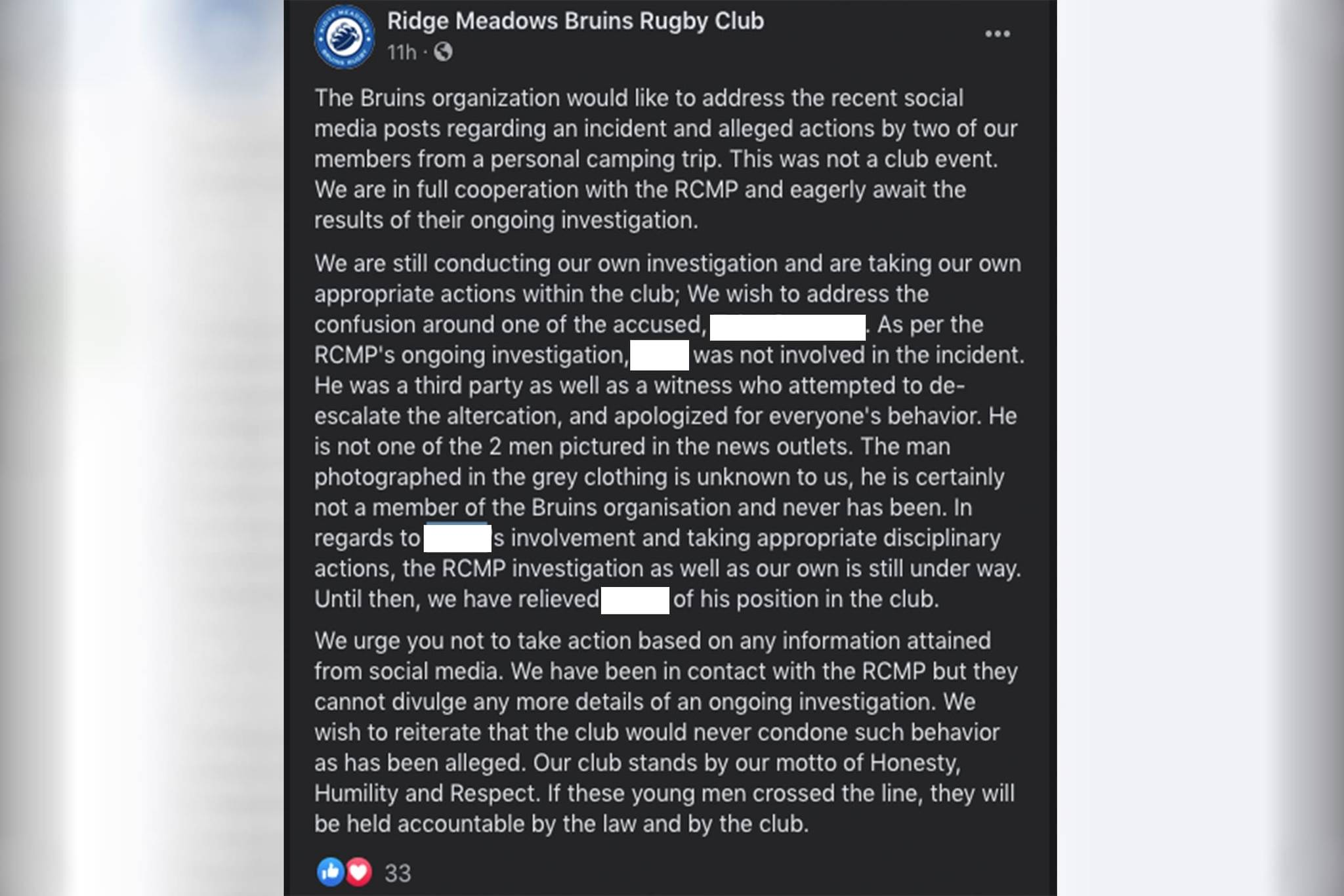 The Ridge Meadows Bruins Rugby Club has released a member of their board of directors pending an investigation into their involvement in an altercation at a Harrison Campsite on Victoria Day. (Screenshot/Facebook)