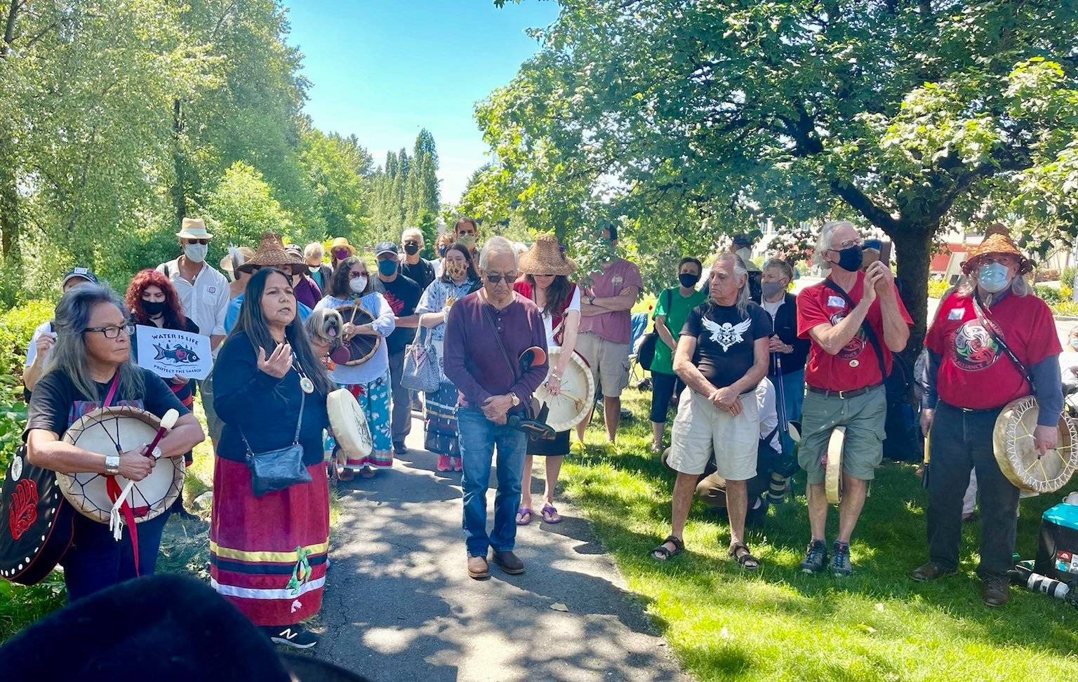 Indigenous leaders and elders held a ceremony to pray for the safety of the salmon, ecosystems and cultural heritage affected by Trans Mountain's plans to drill under the Fraser River on May 29, 2021. (Contributed)