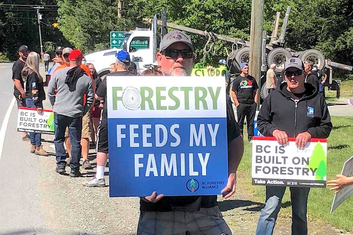 Logging industry supporters gather in Mesachie Lake on Saturday, May 29. (Kevin Rothbauer/Citizen)