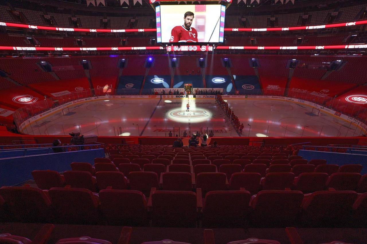 Montreal Canadiens captain Shea Weber is introduced before an empty Bell Centre for the Canadiens NHL home opener against the Calgary Flames in Montreal on Thursday, January 28, 2021. For the first time since March 2020, a Canadian NHL team will have paying fans in the arena tonight. THE CANADIAN PRESS/Paul Chiasson