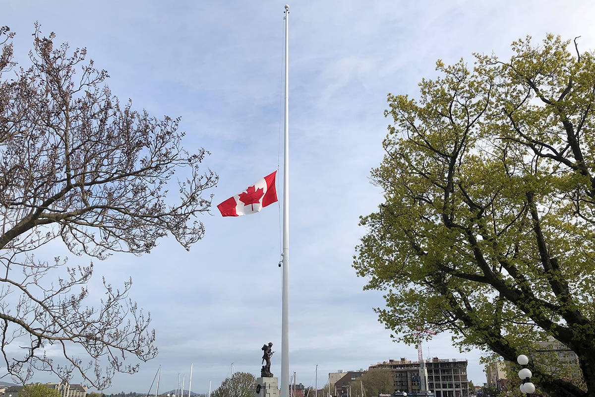 The flag at the BC Legislature will be flown at half-mast starting on Sunday, May 30, 2021, to honour the 215 Indigenous children whose bodies were found at a former residential school near Kamloops, B.C. (BC Legislature)