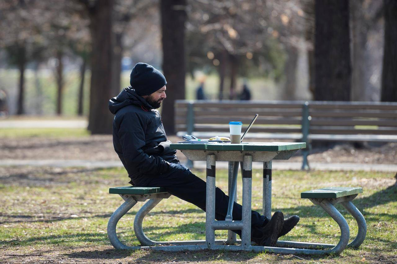 A man works on his laptop outside in Trinity Bellwoods Park in Toronto on Wednesday, April 7, 2021. THE CANADIAN PRESS/Tijana Martin