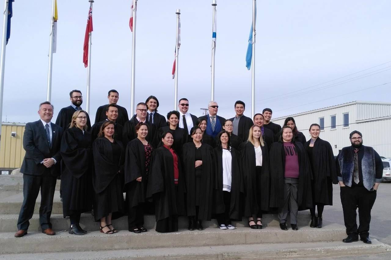 Students and staff with the Nunavut Law program pose for a photo in downtown Iqaluit in 2017, the year this program was formally launched. For the first time in more than 15 years, Nunavut has a group of homegrown lawyers. THE CANADIAN PRESS/HO-Nunavut Law Program-Benjamin Ralston *MANDATORY CREDIT*