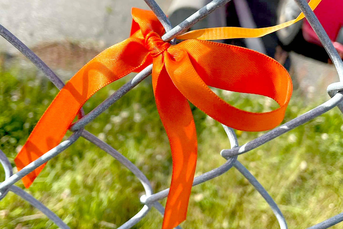 Aldergrove Community Secondary staff tied 215 orange ribbons to honour and remember the 215 children who did not return home from the Kamloops Residential school. (Special to The Star)