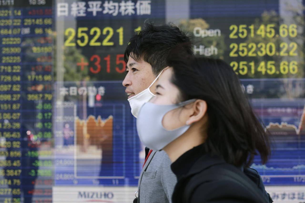 File - In this Wednesday, Nov. 11, 2020 file photo, people walk by an electronic stock board of a securities firm in Tokyo. The global economic rebound from the pandemic has picked up speed but remains uneven across countries and faces multiple headwinds including the lack of vaccines in poorer nations. That could lead to new virus variants and more stop-and-go lockdowns, the Organization for Economic Cooperation and Development, OECD said in its latest forecast. (AP Photo/Koji Sasahara, File)