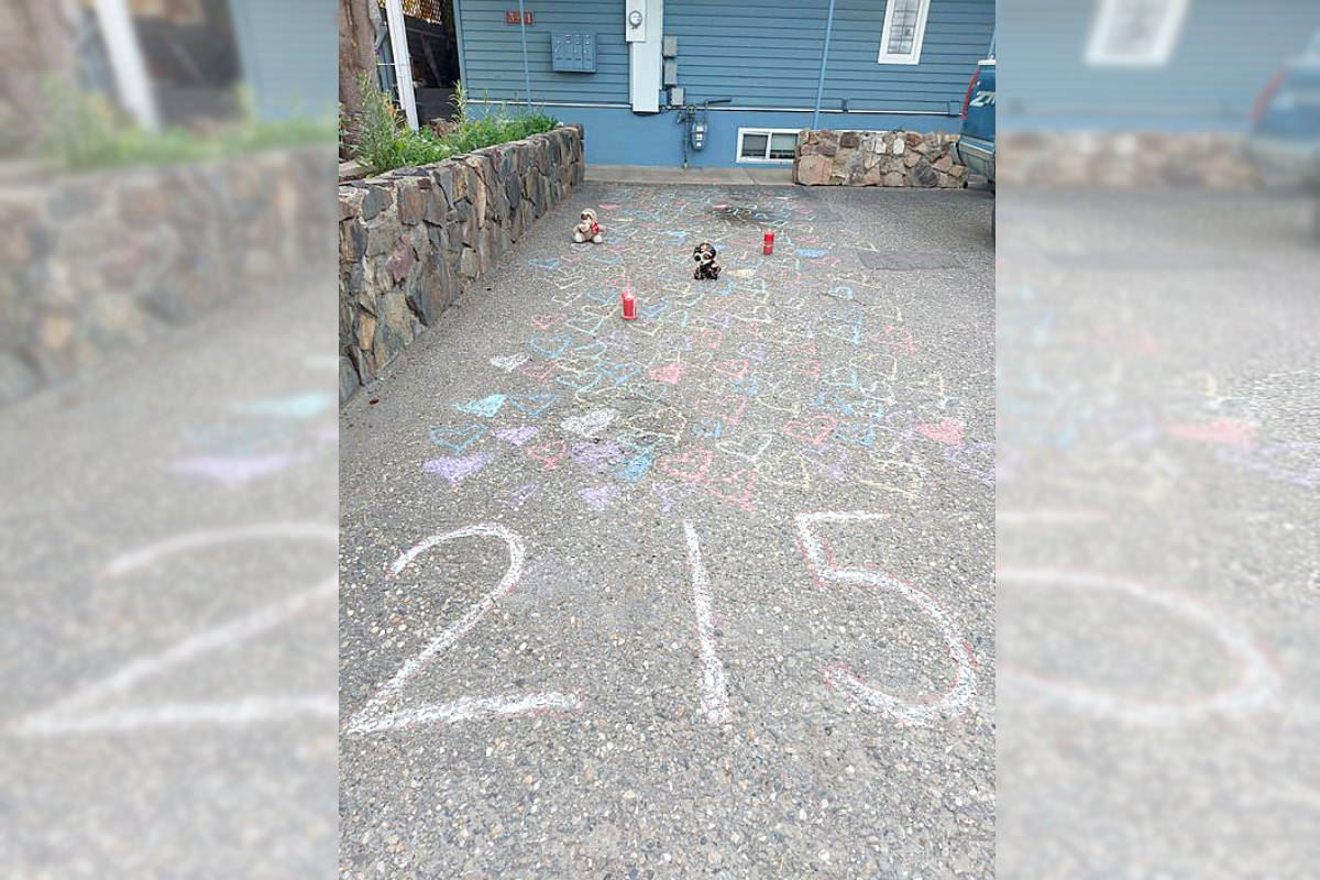 Vernon residents are showing their support for those grieving the loss of 215 children, whose remains were discovered at the Kamloops Residential School May 28, 2021. Residents are asked to put a teddy bear out on their porch at 5 p.m. Monday, May 31 and leave the light on. (Leo Isaac photo)