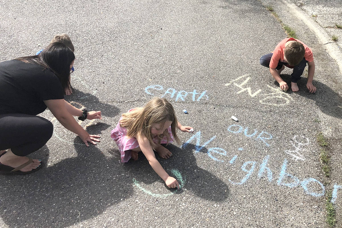Chalk art could land an Aldergrove family a free bouncy castle. (Special to The Star)