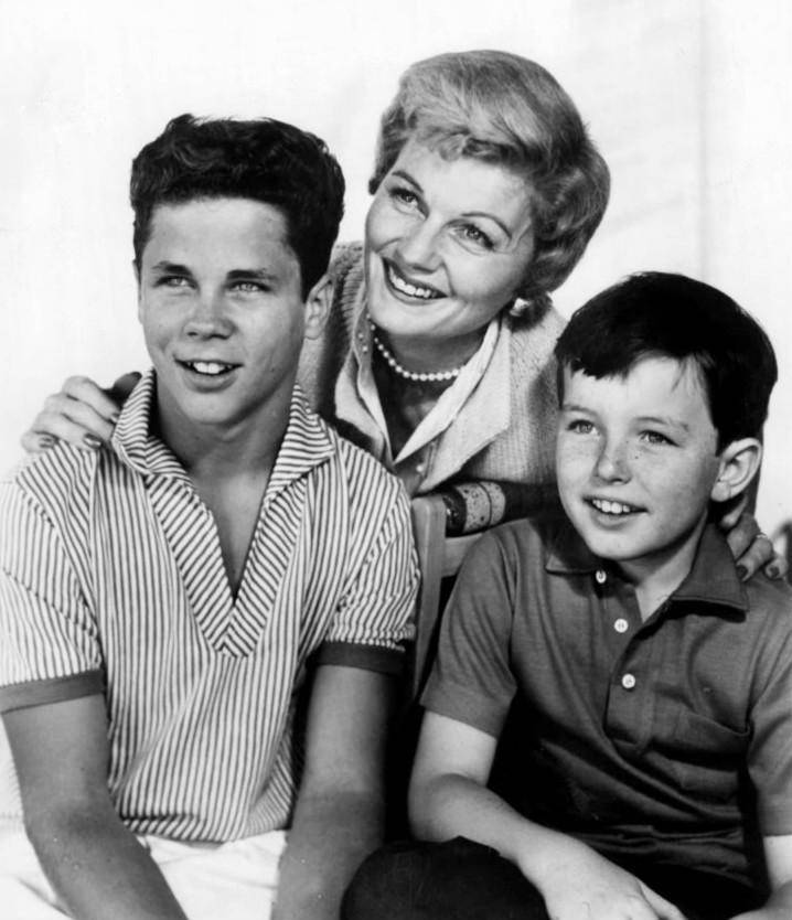 """Tony Dow, Barbara Billingsley and Jerry Mathers played the roles of Wally, June and Theodore """"The Beaver"""" Cleaver on the ABC Television show, Leave It To Beaver. What was the name of June Cleaver's husband on this show? (ABC Television, public domain, via Wikimedia Commons)"""